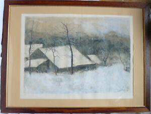 Bernard GANTNER Lithographie signée E.A Paysage de Neige Ferme Forêt en Hiver