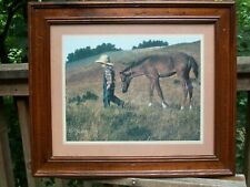 Vintage Homco/ home Interiors Framed Picture Print Boy Leading Horse Signed