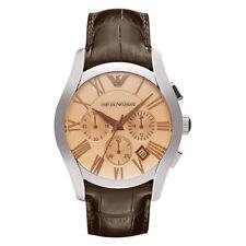 Emporio Armani AR1634 Brown Leather Strap Silver Mens Chronograph Watch