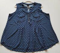 J.t.b. Women's Sleeveless Blouse Top 2X Plus Blue White Dots Geometric Popover