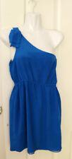 Zhouk silk blue one shoulder dress size 2  or Aus 8 Used