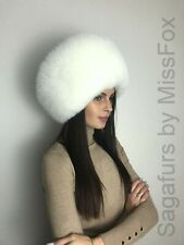 Scandinavian blue fox fur yellow trapper hat S//M or L//XL