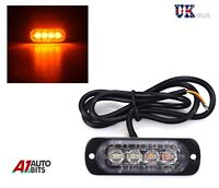 Ultra Slim 333 mA 4 LED Amber Car SUV Surface Mount Flashing Strobe Lamp Blitz