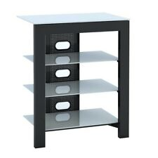 De Conti ARCAXL 4 Shelf Hi-Fi Stand in Black with White Glass Shelves 500mm NEW