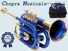 """Chopra Brand"" Best Pocket Trumpet 3V Pro Brass Blue with Mouth Piece +Case 11/1"