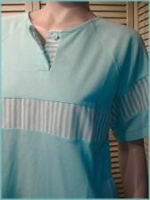 "HONORS Fresh Aqua Mint & White Stripe Knit Top (M) 39"" bust Polyester/Cotton"