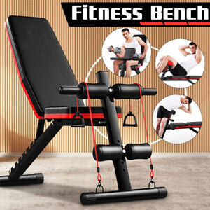 Adjustable Abdominal Weight Bench Sit up Fitness Flat Gym Dumbbell Exercise AUS