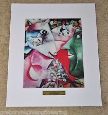 """MARC CHAGALL 1973 ORIGINAL PLATE IN 16""""x20"""" WHITE MAT WITH GOLD NAME LABEL"""