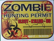 BLOOD SPLATTER ZOMBIE HUNTER PERMIT with working bar code AND 80s reference NEW