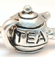 .925 SILVER BEAD EUROPEAN CHARM FOR BRACELET #A94 Tea pot drink snack time NEW