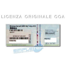 LICENZA DELL WINDOWS SERVER 2008 R2 STD 1-4CPU 5CLT STICKER ORIGINALE COA