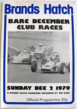 Brands Hatch BARC DICEMBRE Club Corse Motor Racing PROGRAMMA UFFICIALE DEC 1979