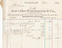 U.S.A. Geo. Worthington & Co 1879 Hardware Cutlery Nails Glass Invoice Ref 37441