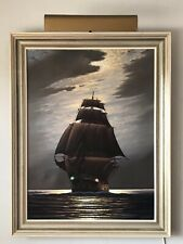 VINTAGE GERMAN IMPRESSIONIST NAUTICAL SAILING SHIP SEASCAPE OIL PAINTING 1950S