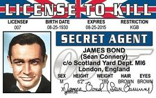 Sean Connery Agent 007 James Bond fun collectors card Drivers License to Kill
