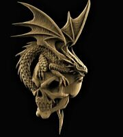 Skull Dragon STL 3D Model relief for cnc router Artcam Aspire decor