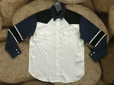 Levis Made Crafted Western L/S Button Shirt Womens Large Denim Satin NWT $228.00