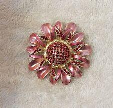Classic Pin Brooch Flower Petal Leaf Blooming Design Garden Pink Gold Tone Vl-D