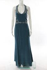 Marchesa Notte Blue Halter Miranda Gown Size 10 New $1195 10184436