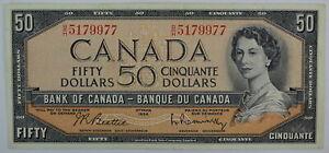 1954 BANK OF CANADA FIFTY DOLLAR B/H 5179977 BC-42b BEATTIE RASMINSKY NOTE