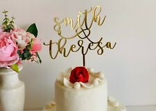 Personalized Wedding Cake Topper Couples First Names Calligraphy Mr and Mrs Cake