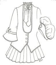 "27-28""  SD BJD school girl DOLL dress hat PATTERN  ANTIQUE vintage design 1026"
