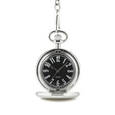 Pocket Watch Silver Tone with Black Dial and Numbers