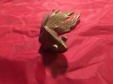 Vintage Brass Fantail Goldfish Beta Fighting Fish Figurine Paperweight