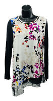 LOGO by Lori Goldstein Size XS Ivory Floral Long Sleeve Knit Top w/Asymm Hem