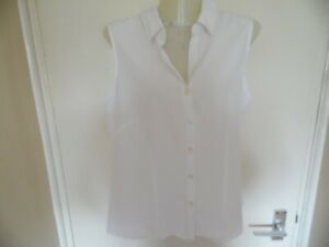 Ladies White Sleeveless V Neck, Button Up Collared Top Size 14 euro 42 Bust 36in