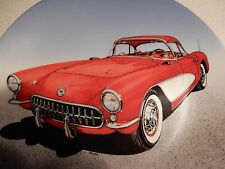 1957 CORVETTE HAND PAINTED VINTAGE COLLECTOR PLATE