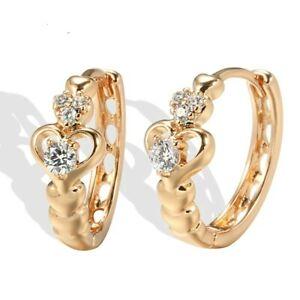 "Bright Yellow Gold Plated Multi Crystal Multi Heart 0.55"" Hoop Earrings"