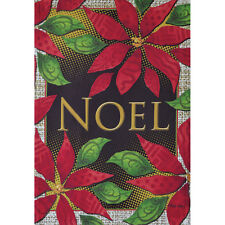 "NOEL POINSETTIAS 12.5"" X 18"" GARDEN FLAG 27-2705-110 FLIP IT! RAIN OR SHINE FALL"