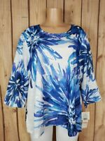 ALFRED DUNNER Women Plus Size 2X 3/4 Sleeve Shirt Blue Floral Print Poly Top NWT