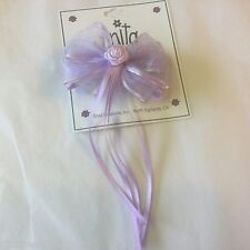 NWT Toddler Satin Chiffon Rose Bud Streamers Pinkish & Lavender Bow Easter 6680