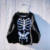 Handmade Boys Black White Knit Skeleton Long Sleeve Crew Neck Sweater Size 3T