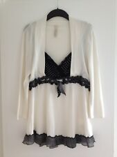 Ladies Oui Moments Cream/Black Polka Dot Fine Knit / 100% Silk Trim Jumper-UK 16
