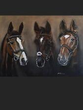 Equine horse animal oil painting original  Art Frankel Denman And Kauto Star