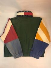 Vintage Tommy Hilfiger Jacket Men's Large Flag Logo Multicolor Hood Zipper 90s