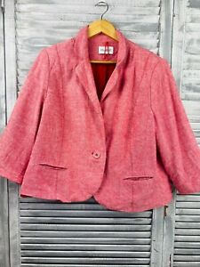 Marks and Spencer Plus Size Linen Jacket Blazer 20 Red Classic Fit