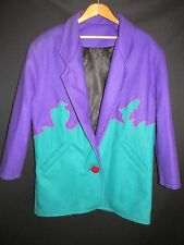 Cindy's Original Design-Custom Made Purple Green Wool Jacket  Women's L WOR