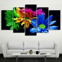 5 pcs Abstract Colorful Flowers HD Modern Printed Canvas Art Home Decor Ideas