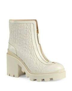 Gucci Women White G Rhombus Leather Mid-heel Ankle Boot Size 37 IT 37.5 US 7.5