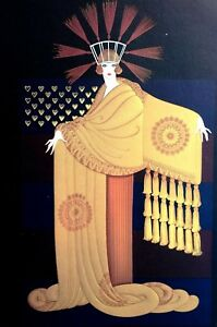 Erte 1987 GOLD TASSEL GOWN CAPE STRAW FEATHER HAT Wall Art Deco Matted Print
