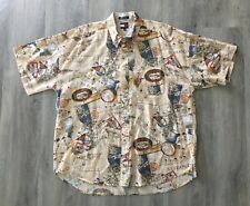 VINTAGE 1990's TOMMY HILFIGER RAND HOTEL SINGAPORE BALI MENS XL BUTTON UP SHIRT