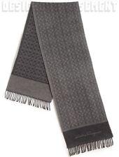SALVATORE FERRAGAMO gray GANCINI 100% Cashmere Long FRINGE scarf NWT Authentic!
