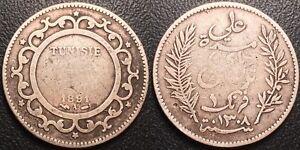Tunisia - Ali, Bey - 1 silver franc ١٣٠٩ - 1891 - Jl #189