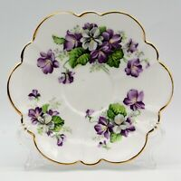 Salisbury Bone China Devonshire Violets Scalloped Saucer Only NO CUP England