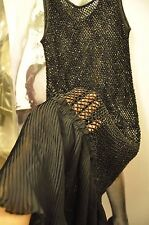 "Parte TRASPARENTE Perline Midi Black Dress ""Allsaints"" HAND Crochet, UK 12, EU 40 M"