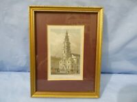 1835 Framed Original Print ST. CLEMENT DANES CHURCH, STRAND by S. Lacy Engraving